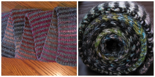 Both are knit in Noro Silk Garden. I gave the other two away.