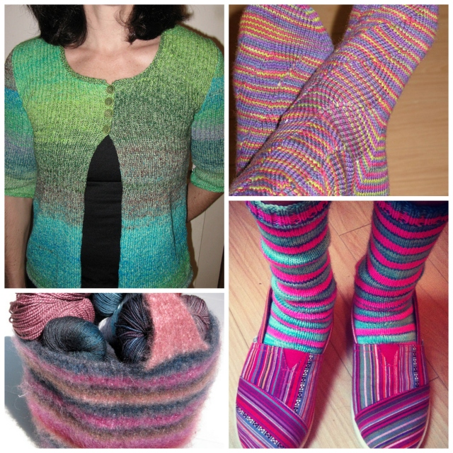Self-striping yarn projects